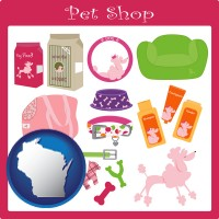 wisconsin map icon and pet shop products