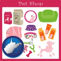 west-virginia map icon and pet shop products