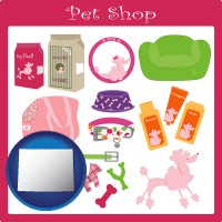 wyoming map icon and pet shop products