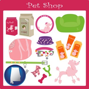 pet shop products - with Alabama icon