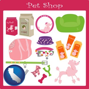 pet shop products - with California icon