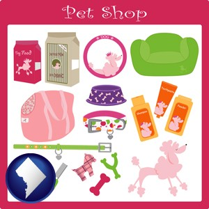 pet shop products - with Washington, DC icon