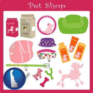pet shop products - with Delaware icon