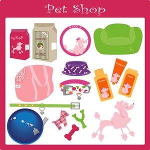 pet shop products - with Hawaii icon