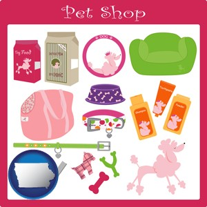 pet shop products - with Iowa icon