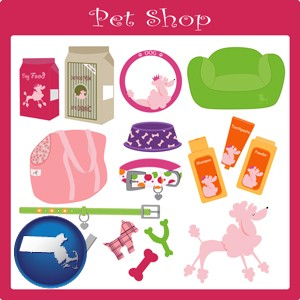 pet shop products - with Massachusetts icon