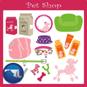 pet shop products - with Maryland icon