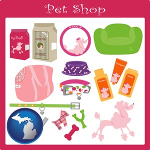 pet shop products - with Michigan icon