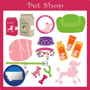 pet shop products - with Montana icon