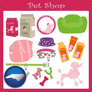 pet shop products - with North Carolina icon