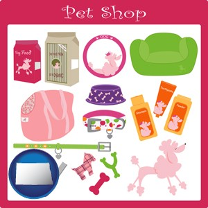 pet shop products - with North Dakota icon