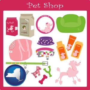 pet shop products - with New York icon