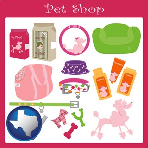 pet shop products - with Texas icon