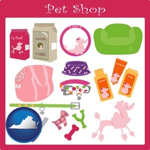 pet shop products - with Virginia icon