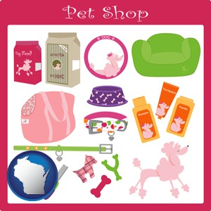 pet shop products - with Wisconsin icon
