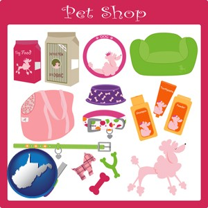 pet shop products - with West Virginia icon