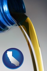 california map icon and motor oil being poured from a container