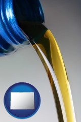 colorado map icon and motor oil being poured from a container