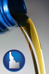 idaho map icon and motor oil being poured from a container
