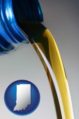 indiana map icon and motor oil being poured from a container