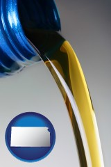 kansas map icon and motor oil being poured from a container