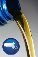 massachusetts map icon and motor oil being poured from a container