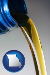 missouri map icon and motor oil being poured from a container