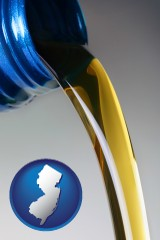 new-jersey map icon and motor oil being poured from a container