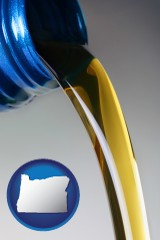 oregon map icon and motor oil being poured from a container