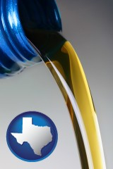 texas map icon and motor oil being poured from a container