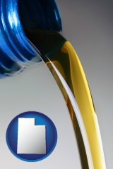 utah map icon and motor oil being poured from a container