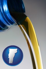 vermont map icon and motor oil being poured from a container