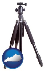 ky map icon and a camera tripod