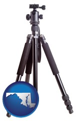 maryland map icon and a camera tripod