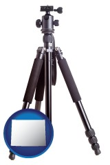 wy map icon and a camera tripod
