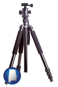 a camera tripod - with Alabama icon
