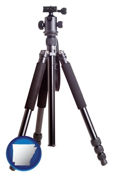 a camera tripod - with Arkansas icon
