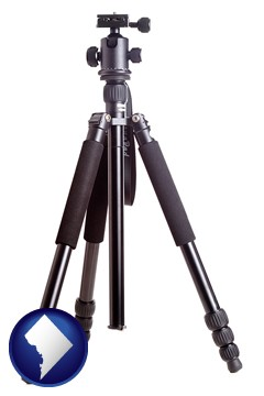 a camera tripod - with Washington, DC icon