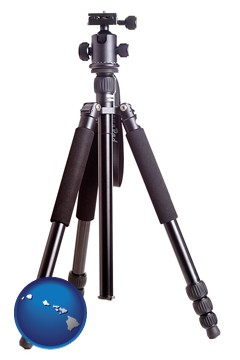 a camera tripod - with Hawaii icon