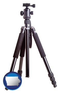 a camera tripod - with Iowa icon