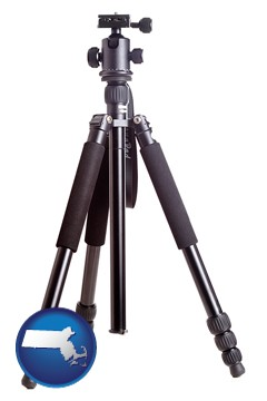 a camera tripod - with Massachusetts icon