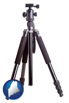 a camera tripod - with Maine icon