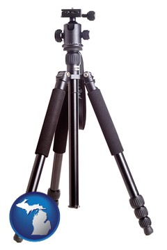 a camera tripod - with Michigan icon