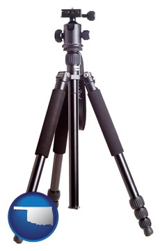 a camera tripod - with Oklahoma icon