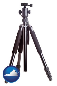 a camera tripod - with Virginia icon
