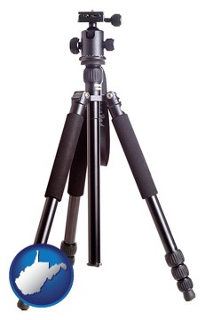 a camera tripod - with West Virginia icon