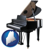 maine map icon and a grand piano