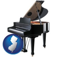 new-jersey map icon and a grand piano