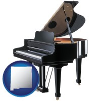 new-mexico map icon and a grand piano