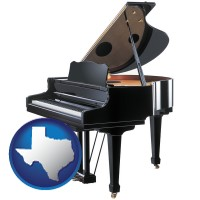 texas map icon and a grand piano